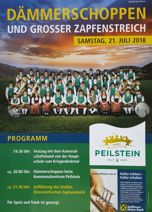 Plakat Dämmerschoppen und Großer Österreichischer Zapfenstreich